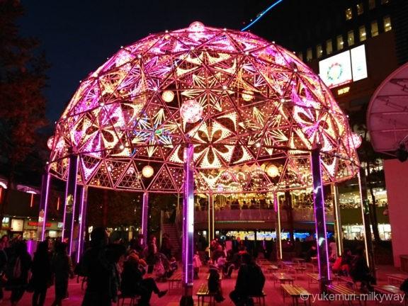 東京ドームシティイルミネーション ギャラクシードームピンク