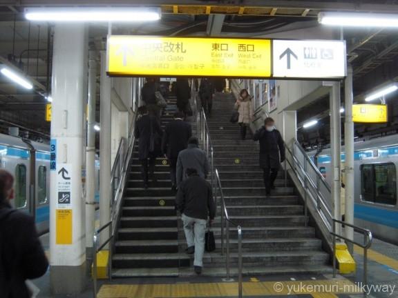 蒲田駅北行ホーム中央改札階段