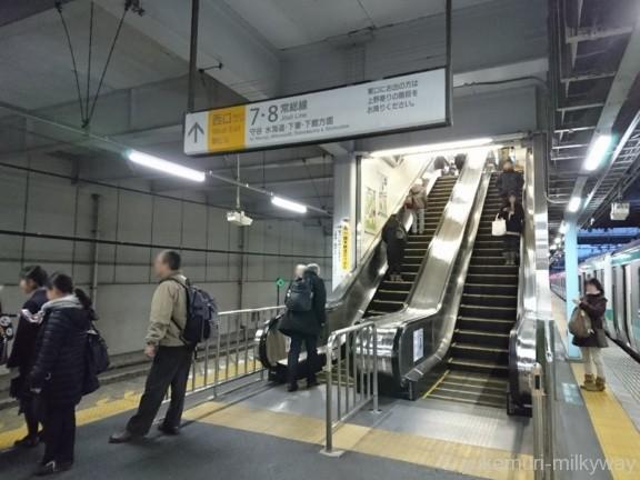 取手駅JR5・6番ホーム西口へのエスカレーター