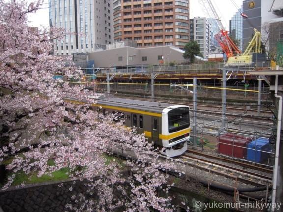 桜と電車・飯田橋駅付近・牛込橋側ラムラ入口 JR東日本中央・総武緩行線E231系