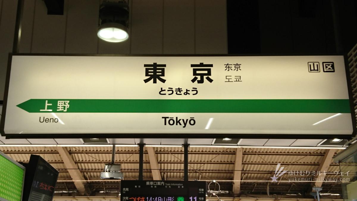 東京駅駅名標 東北新幹線